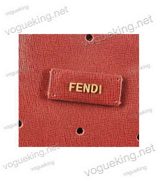 Fendi Medium Shopping Bag Dark Red Roll Perforated Leather-4