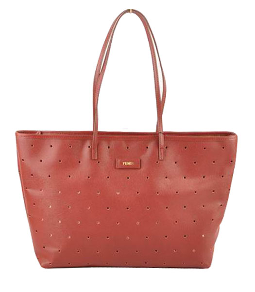 Fendi Medium Shopping Bag Dark Red Roll Perforated Leather