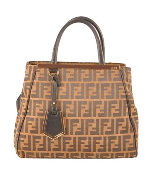 Fendi 2jours Zucca Canvas With Black Leather Small Tote Bag