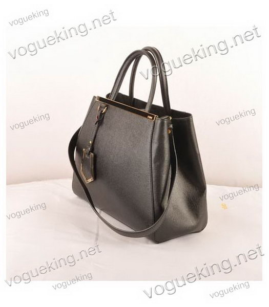 Fendi 2jours Black Cross veins Leather Small Tote Bag-1