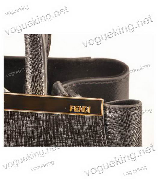 Fendi 2jours Black Cross veins Leather Small Tote Bag-5