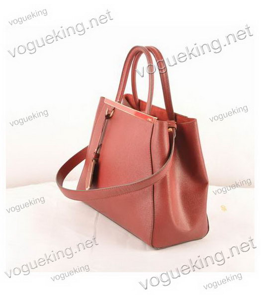 Fendi 2jours Dark Red Cross veins Leather Small Tote Bag-1