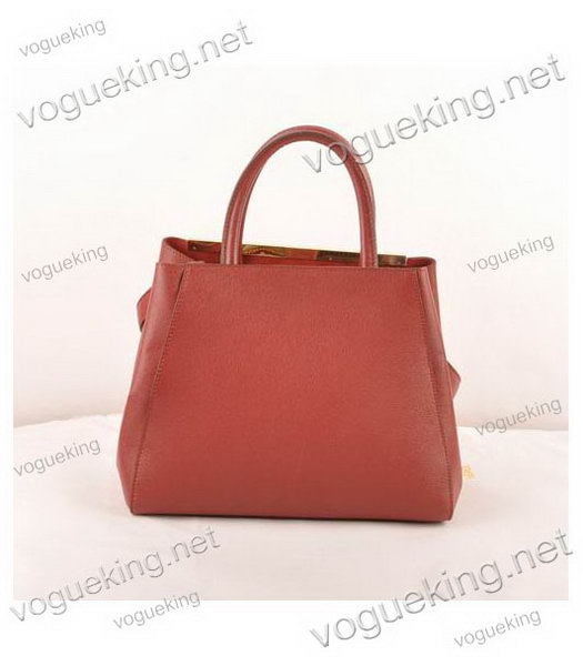 Fendi 2jours Dark Red Cross veins Leather Small Tote Bag-2