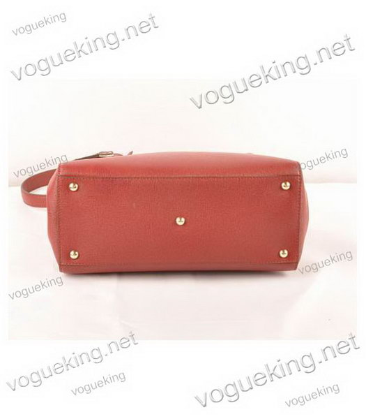 Fendi 2jours Dark Red Cross veins Leather Small Tote Bag-3