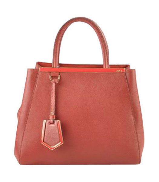 Fendi 2jours Dark Red Cross veins Leather Small Tote Bag
