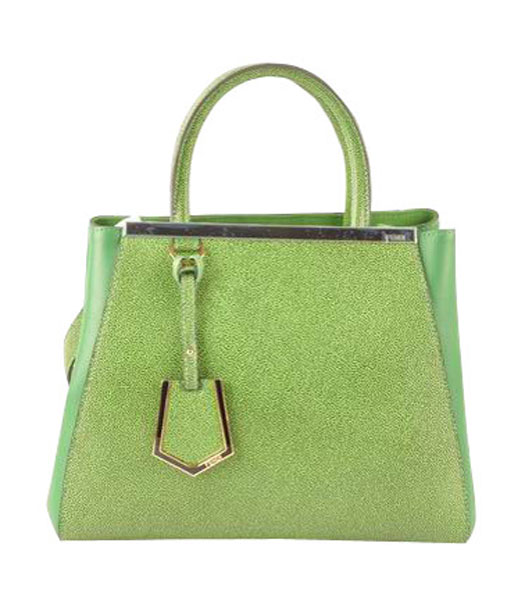 Fendi 2jours Green Caviar Leather With Grass Green Ferrari Leather Small Tote Bag