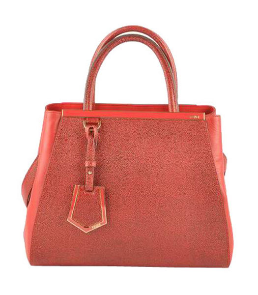 Fendi 2jours Dark Red Caviar Leather With Ferrari Leather Small Tote Bag