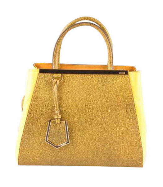 Fendi 2jours Yellow Caviar Leather With Lemon Yellow Ferrari Leather Small Tote Bag