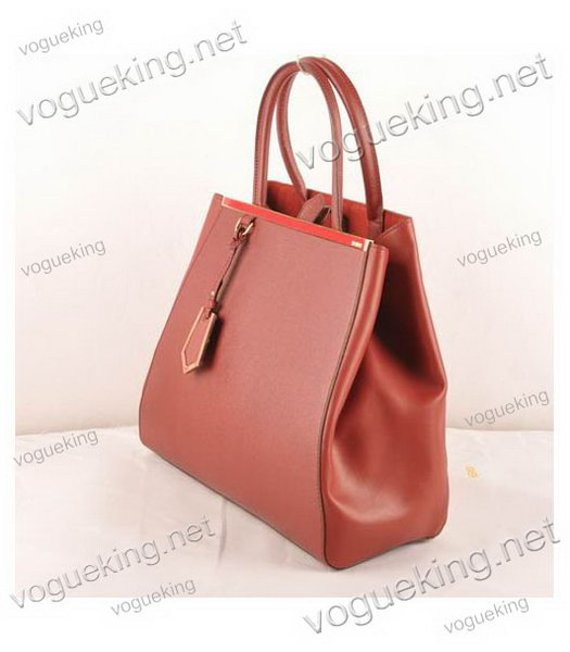 Fendi 2jours Dark Red Cross veins With Ferrari Leather Large Tote Bag-1