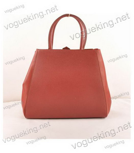 Fendi 2jours Dark Red Cross veins With Ferrari Leather Large Tote Bag-2