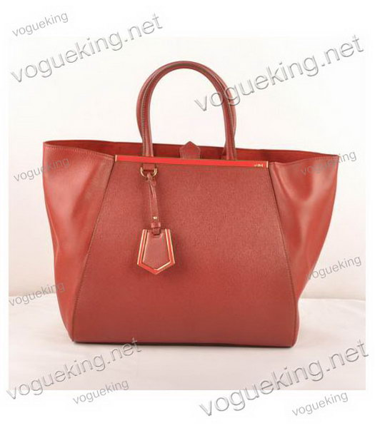Fendi 2jours Dark Red Cross veins With Ferrari Leather Large Tote Bag-3