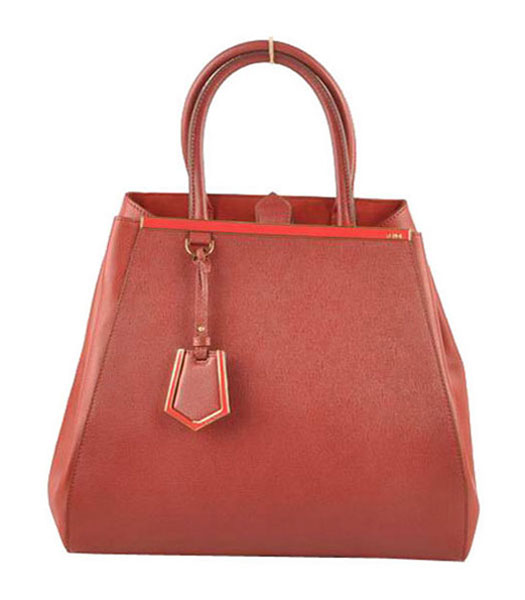 Fendi 2jours Dark Red Cross veins With Ferrari Leather Large Tote Bag