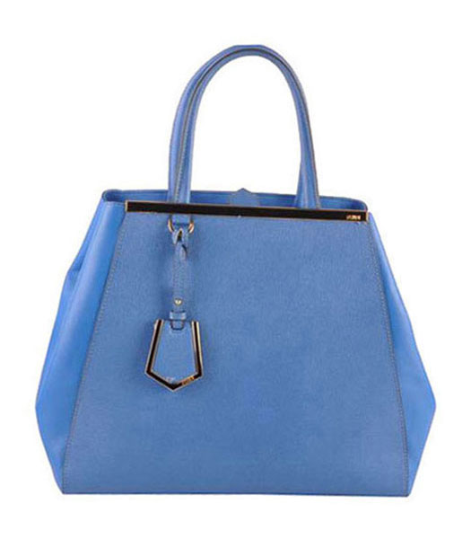 Fendi 2jours Blue Cross veins With Ferrari Leather Large Tote Bag