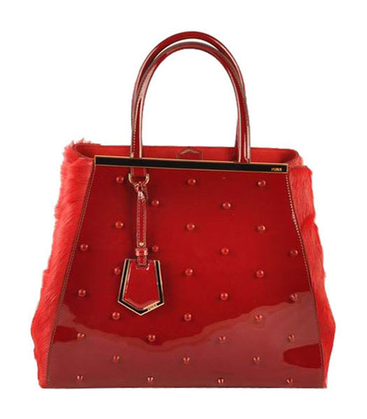 Fendi 2jours Red Patent Leather With Horsehair Leather Large Tote Bag
