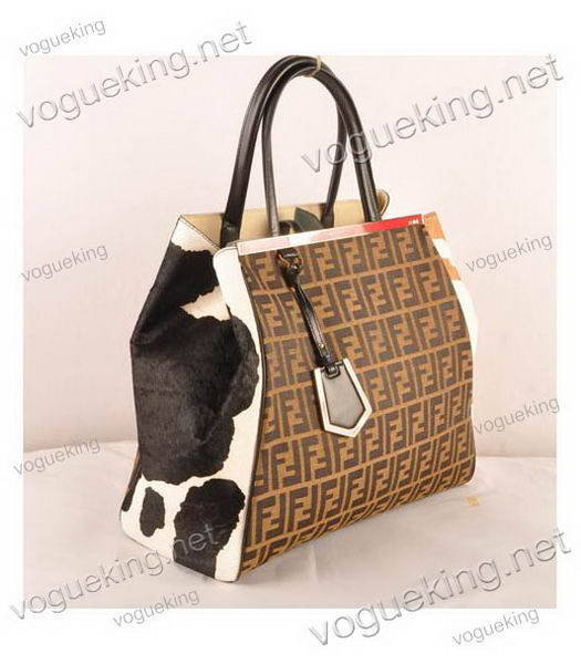 1137afdbd97c ... Fendi 2jours Zucca Canvas With BlackEarth Yellow Horsehair Leather  Large Tote Bag-2 ...