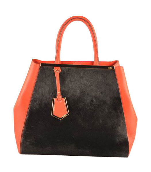 Fendi 2jours Black Horsehair Leather With Red Ferrari Leather Large Tote Bag