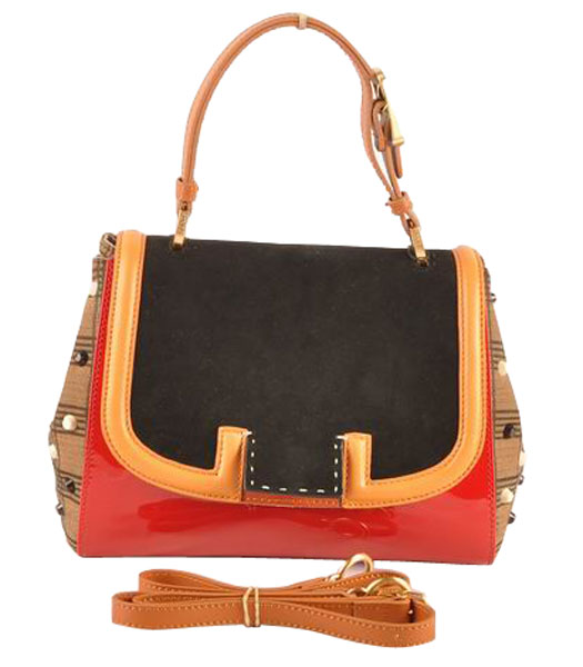 Fendi Silvana Black Suede With Red Patent Leather Bag