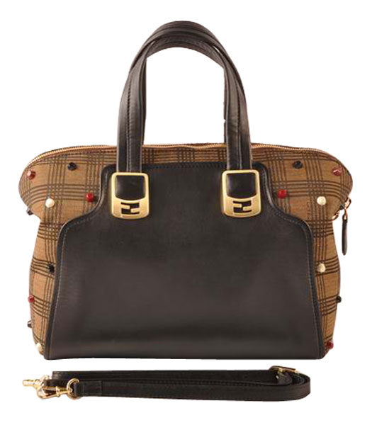 Fendi Damier Fabric With Black Leather Small Tote Bag