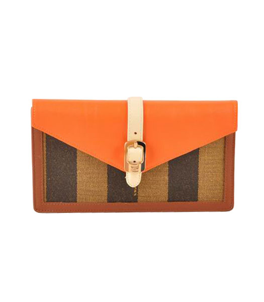 Fendi Pequin Envelope Striped Fabric With Orange Leather Clutch