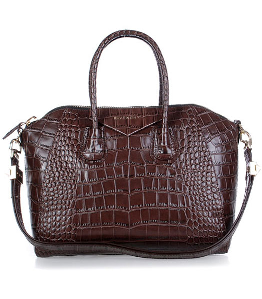 Givenchy Antigona Croc Veins Leather Bag in Coffee