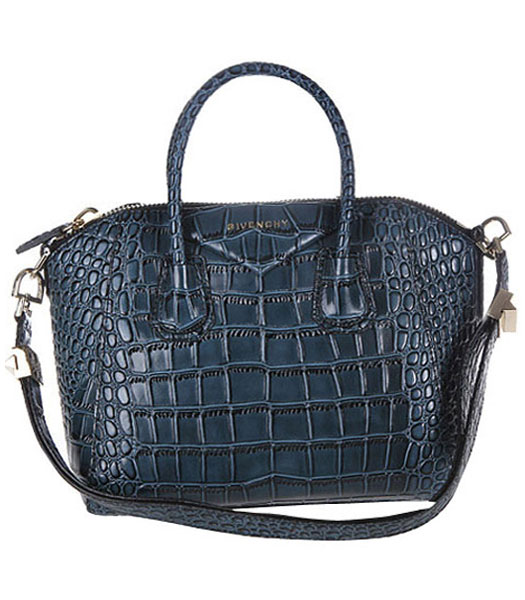 Givenchy Antigona Croc Veins Leather Bag in Sapphire Blue