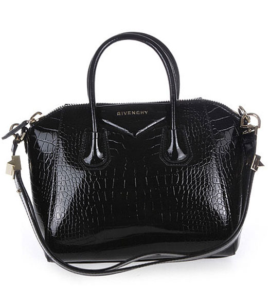 Givenchy Antigona Croc Veins Patent Leather Bag in Black