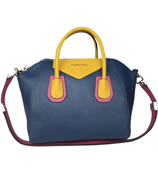 Givenchy Antigona Sapphire Blue Clemence Leather Satchel Tote Bag