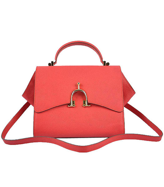 Hermes Calfskin Leather Mini Top Handle Bag Watermelon Red
