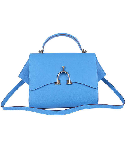 Hermes Calfskin Leather Mini Top Handle Bag Middle Blue