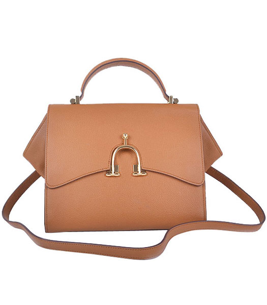 Hermes Calfskin Leather Mini Top Handle Bag Light Coffee