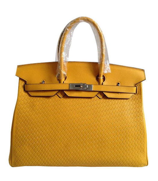 Hermes Birkin 35CM Yellow Plait Veins Leather Bag
