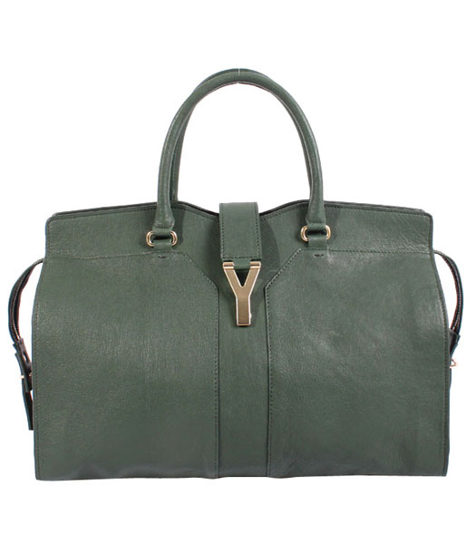 Yves Saint Laurent Chyc Cabas Green Original Lambskin Leather Tote