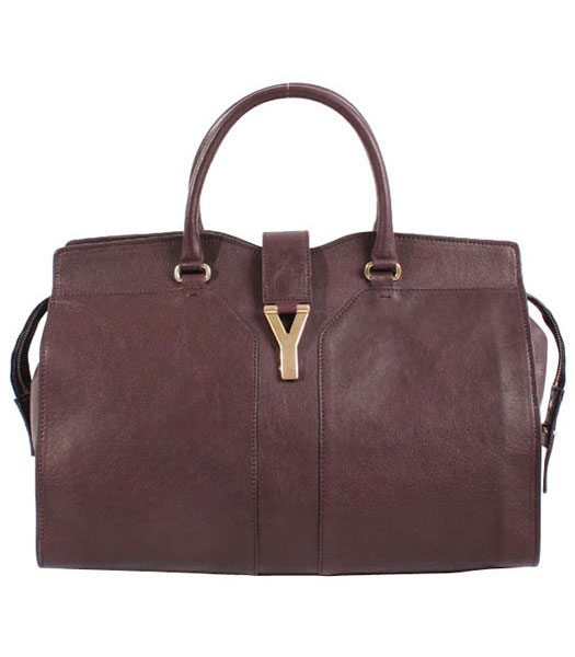 Yves Saint Laurent Chyc Cabas Coffee Original Lambskin Leather Tote