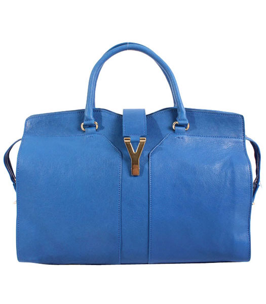 Yves Saint Laurent Chyc Cabas Sapphire Blue Original Lambskin Leather Tote