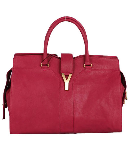 Yves Saint Laurent Chyc Cabas Fuchsia Leather Tote