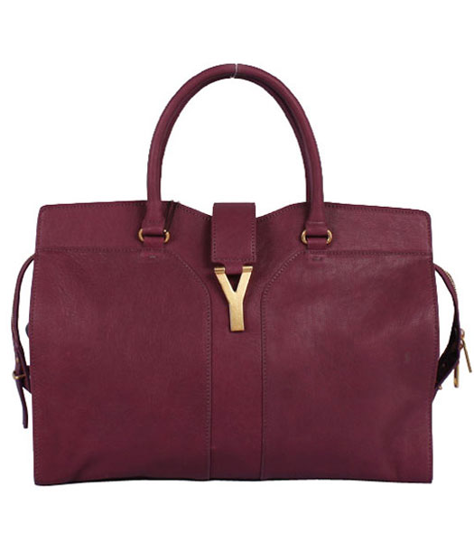 Yves Saint Laurent Chyc Cabas Purple Leather Tote