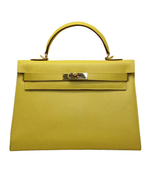Hermes kelly 32cm Yellow Palm Print Leather Bag