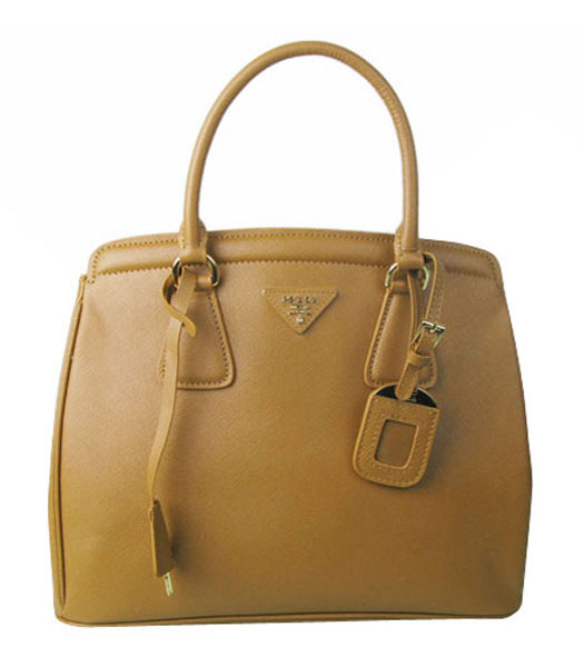 Prada Saffiano Lux Tote Bag Apricot Cross Veins Leather