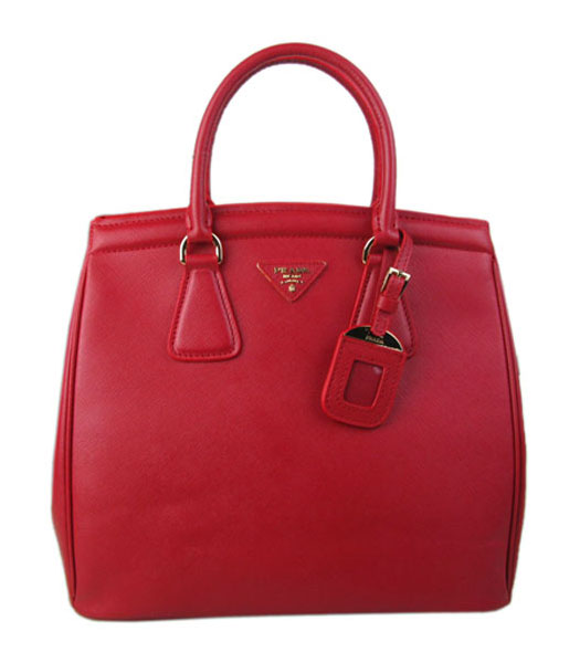 Prada Saffiano Leather Top Handle Bag Red