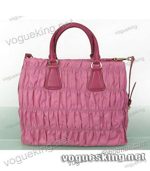 Prada Gaufre Fabric With Pink Leather Tote Bag-1