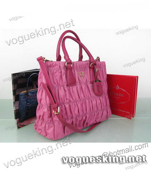 Prada Gaufre Fabric With Pink Leather Tote Bag-3
