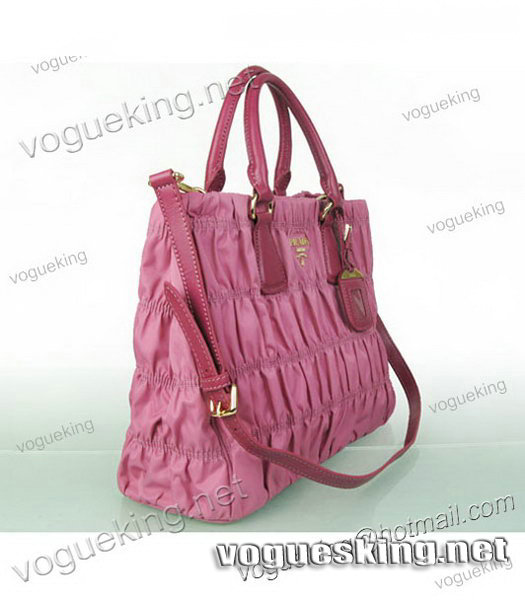 Prada Gaufre Fabric With Pink Leather Tote Bag-4