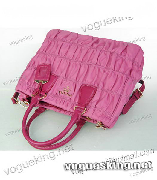 Prada Gaufre Fabric With Pink Leather Tote Bag-5