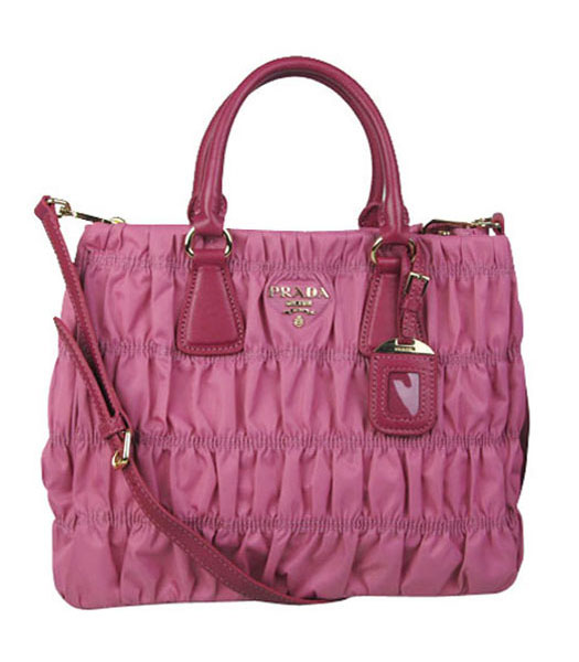 Prada Gaufre Fabric With Pink Leather Tote Bag