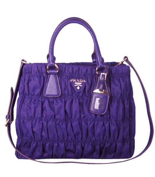 Prada Gaufre Fabric With Dark Purple Leather Tote Bag
