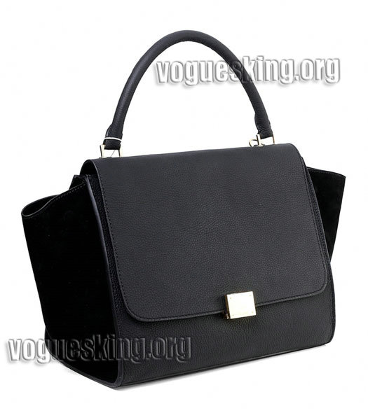 Celine Black Litchi Pattern Imported Leather With Suede Stamped Trapeze Bag-1