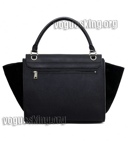 Celine Black Litchi Pattern Imported Leather With Suede Stamped Trapeze Bag-2