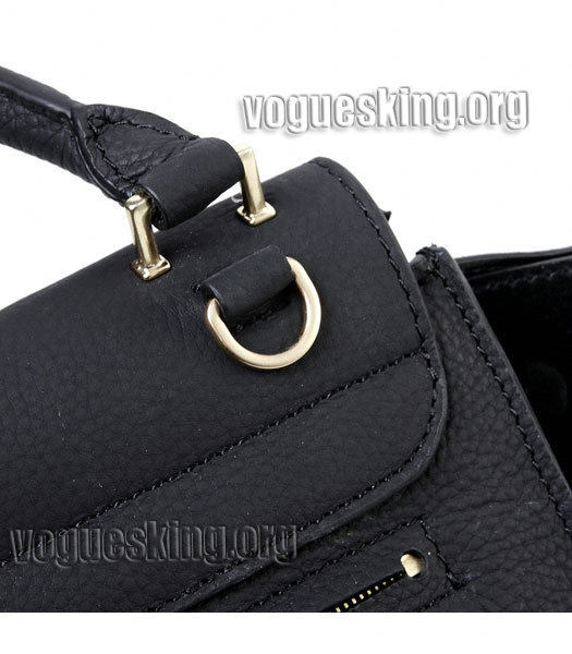 Celine Black Litchi Pattern Imported Leather With Suede Stamped Trapeze Bag-4