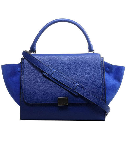 Celine Blue Litchi Pattern Imported Leather With Suede Stamped Trapeze Bag