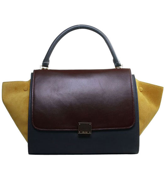 Celine Wine RedGrey Imported Leather With Yellow Suede Leather Stamped Trapeze Bag